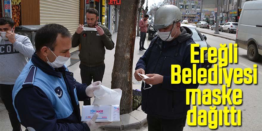 Ereğli Belediyesi maske dağıttı