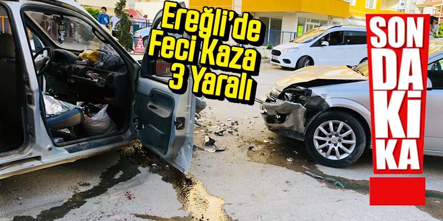 İki otomobil çarpıştı 3 yaralı